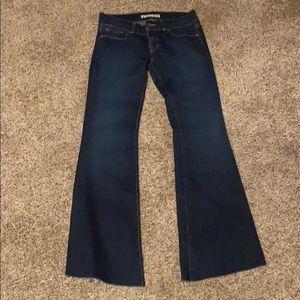 J Brand Raw Hem Flare Jeans Dark Wash Denim 27